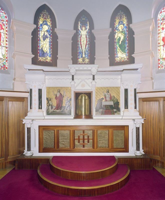 Interior. View of sanctuary including tabernacle