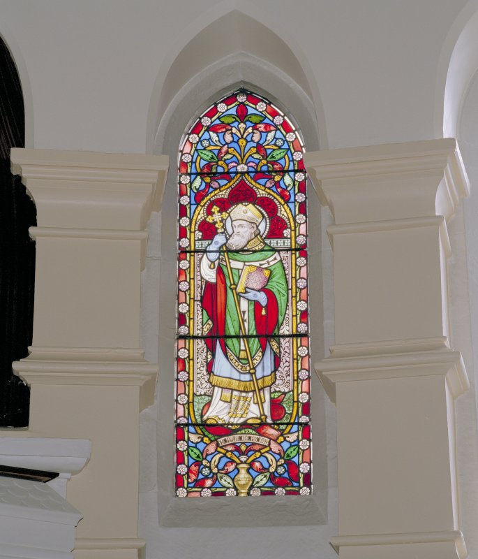 Interior. Chancel, detail of stained glass window to St. Patrick