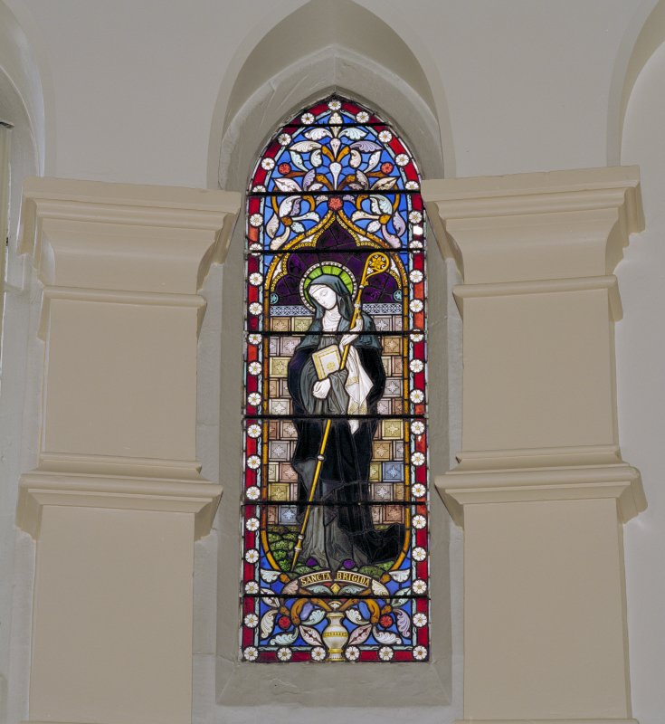 Interior. Chancel, detail of stained glass window to St. Bridget St Ignatius' Roman Catholic Church, Wishaw