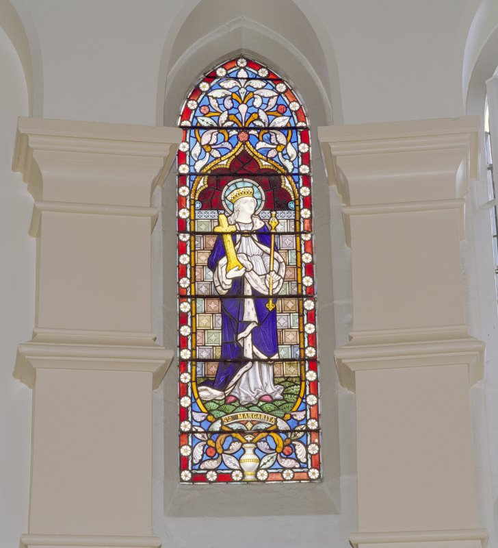 Interior. Chancel, detail of stained glass window to St. Margaret