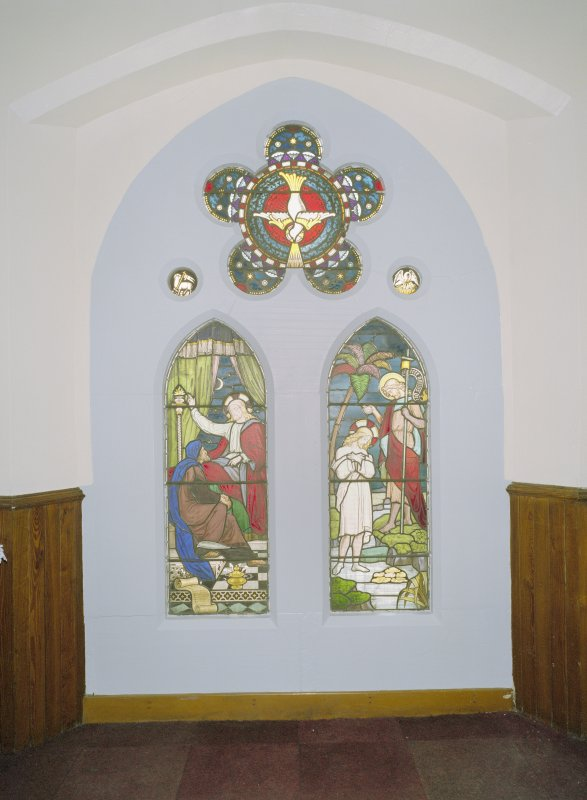 Interior. NE side chapel, detail of stained glass window