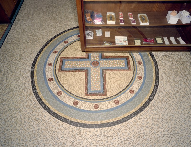 Interior. Main entrance lobby, detail of mosaic floor