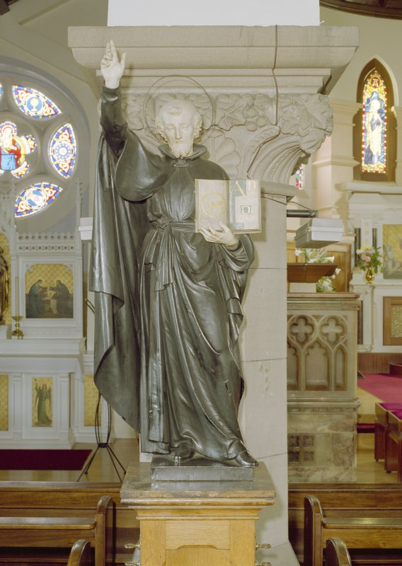 Interior. Detail of statue to St. Ignatius