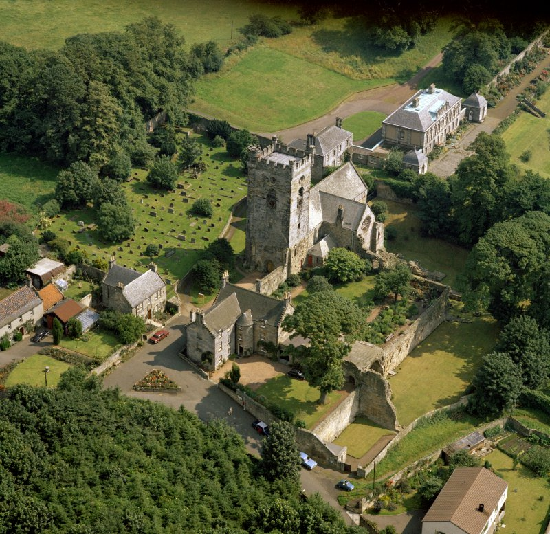 Oblique aerial view of Culross Abbey