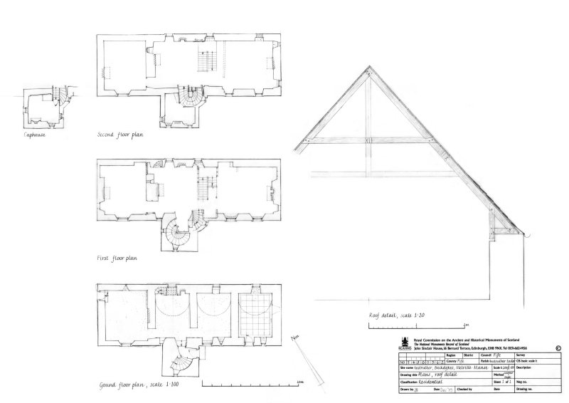 Ground, First, Second floor plans, Caphouse plan and Roof detail