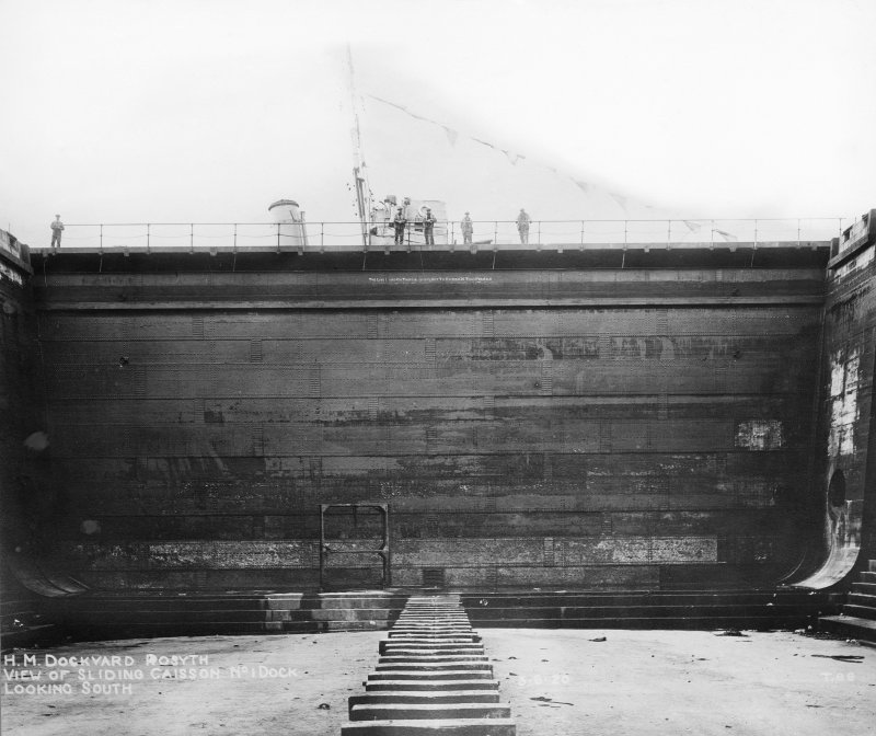 View of sliding caisson No 1 Dock looking S, Rosyth Dockyard d: 'Jun 5 1920'