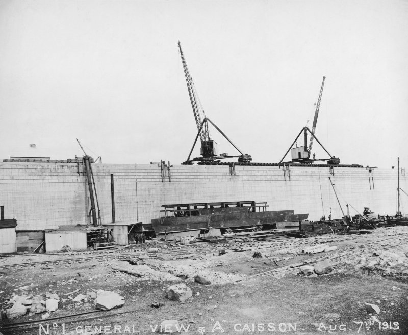 General view caisson 'A', Rosyth Dockyard d: 'Aug 7 1913'