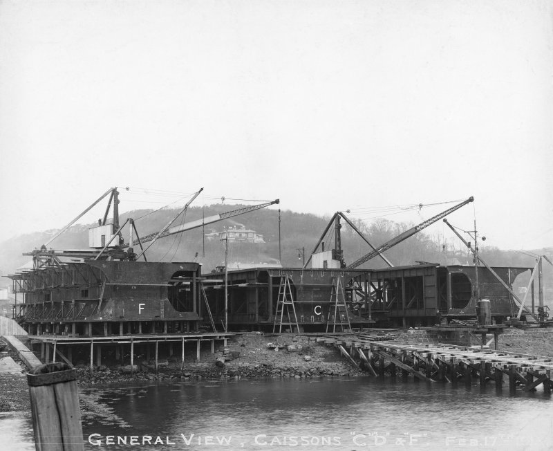General view of caissons 'C' , 'D', 'F', Rosyth Dockyard d: 'Feb 17 1913'