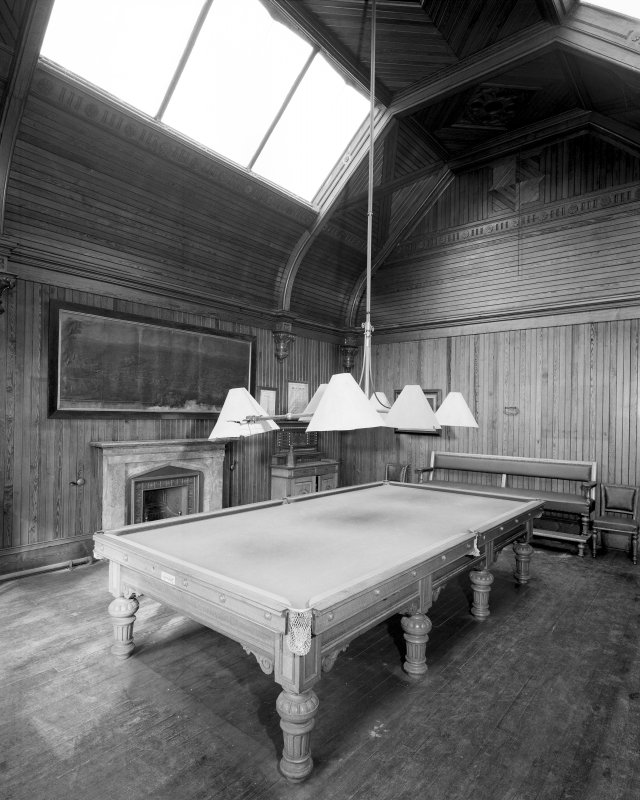 Interior, Carbeth House. View of billiard room.