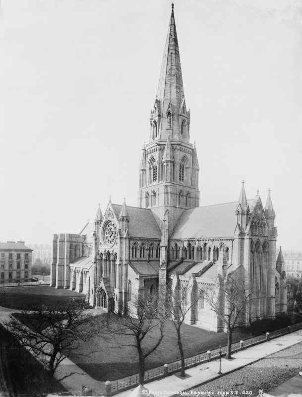 Edinburgh, Palmerston Place, St. Mary's Episcopal Cathedral. View before addition of the chapter house and twin spires.