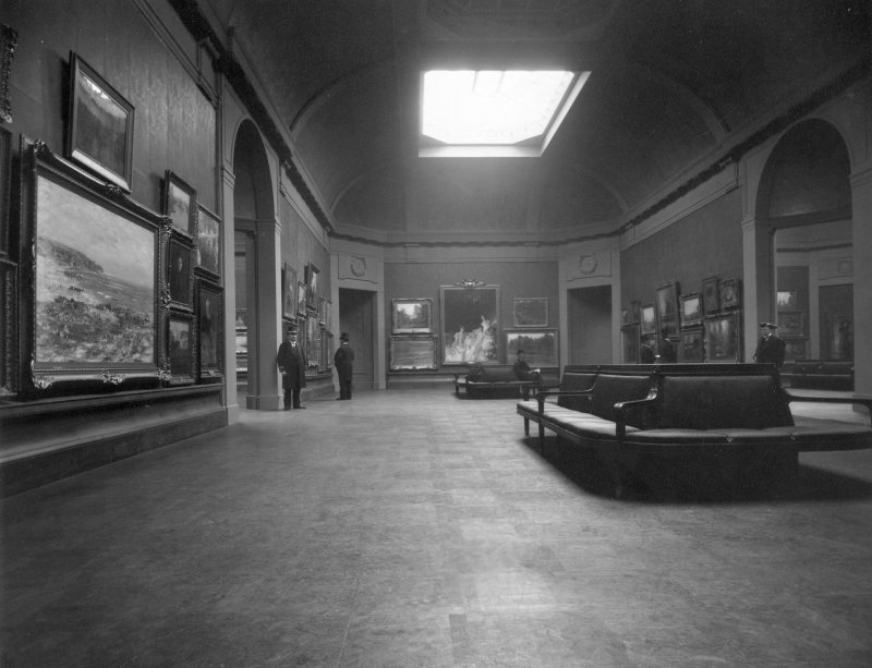 Interior view of Royal Scottish Academy, Edinburgh, showing the large oil gallery after reconstruction in 1911.