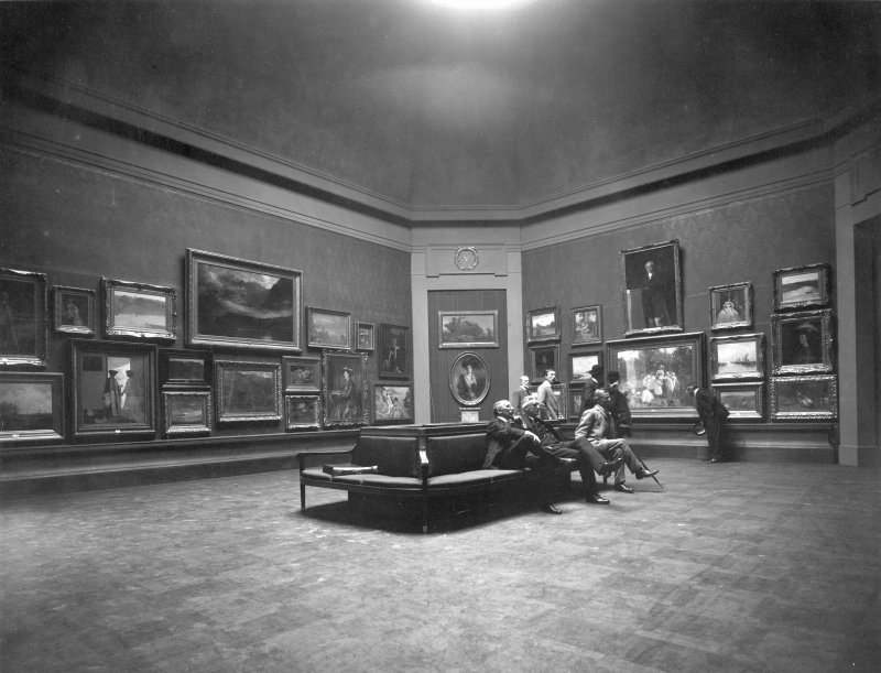Interior view of Royal Scottish Academy, Edinburgh, showing a small oil gallery after reconstruction in 1911.