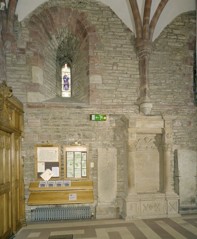 Interior.  Nave, N aisle, 1st bay from W, view from S