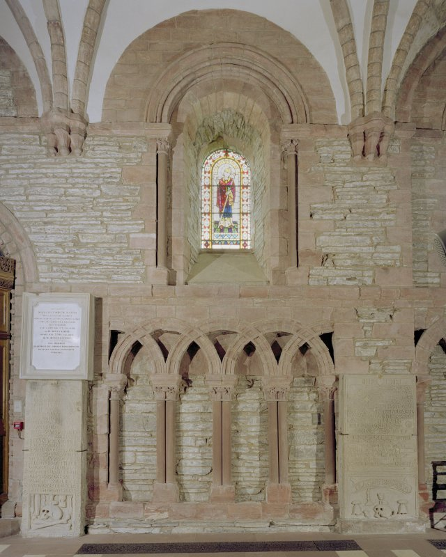 Interior.  Nave, N aisle, 4th bay from W, view from S