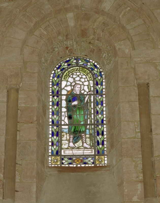 Interior.  Nave, N aisle, 6th bay from W, detail of stained glass window (Joseph of Arimathea)