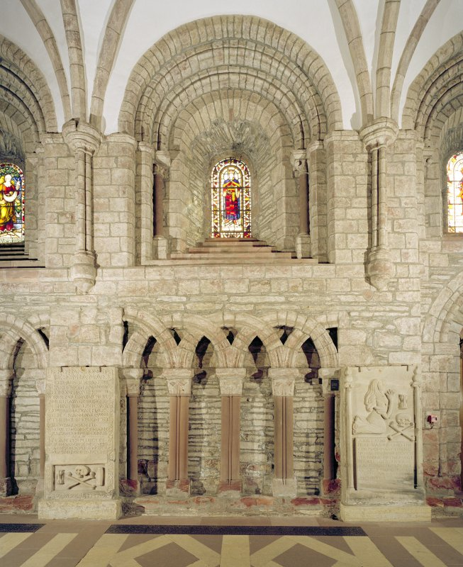 Interior.  Nave, S aisle, 4th bay from W, view from N