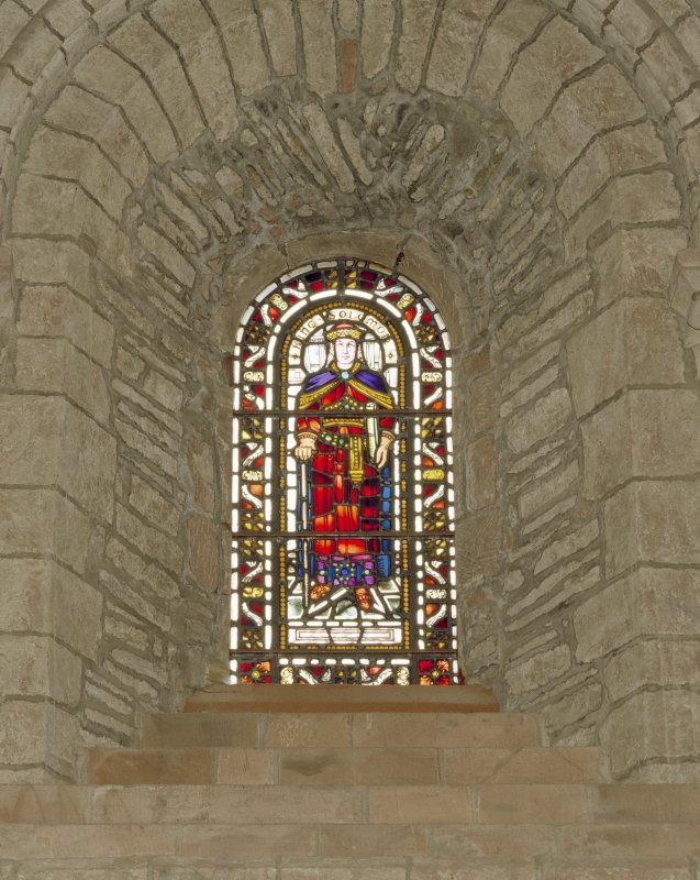 Interior.  Nave, S aisle, 4th bay from W, detail of stained glass window (King Solomon)