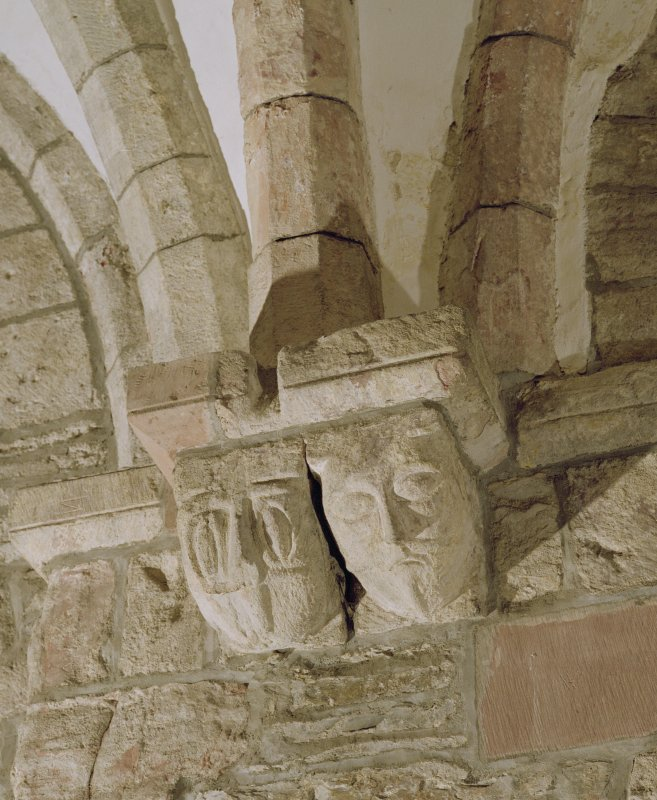 Interior.  Nave, S aisle, detail of corbel carved in the shape of a head