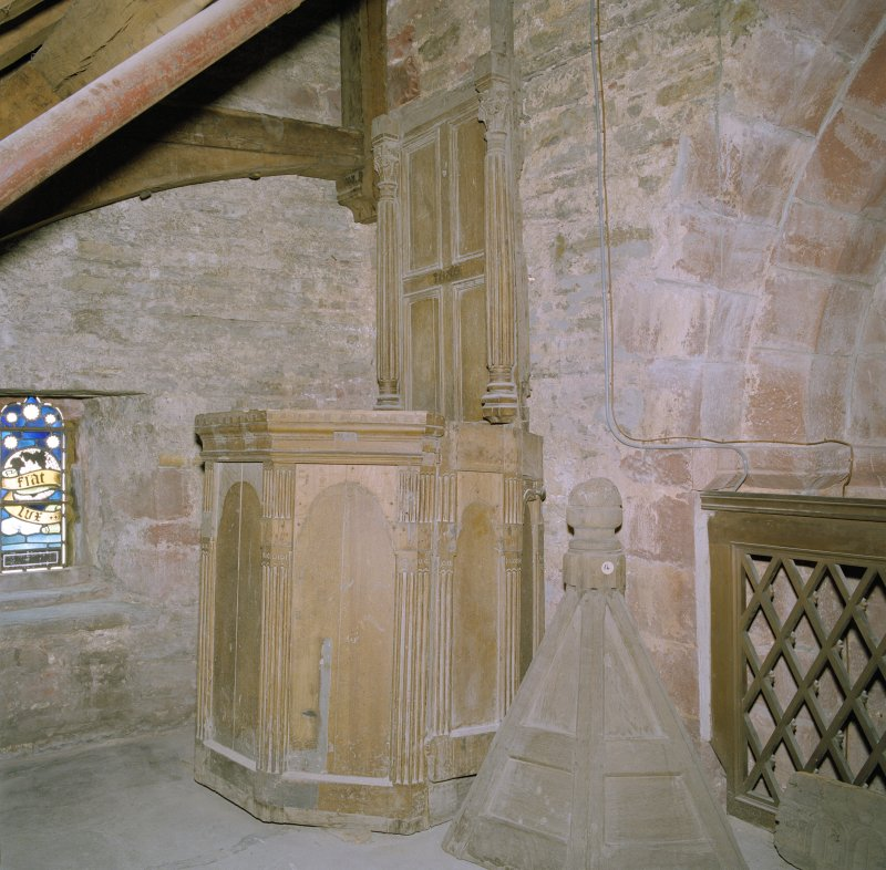 Interior.  S triforium, view of remains of 17th century pulpit