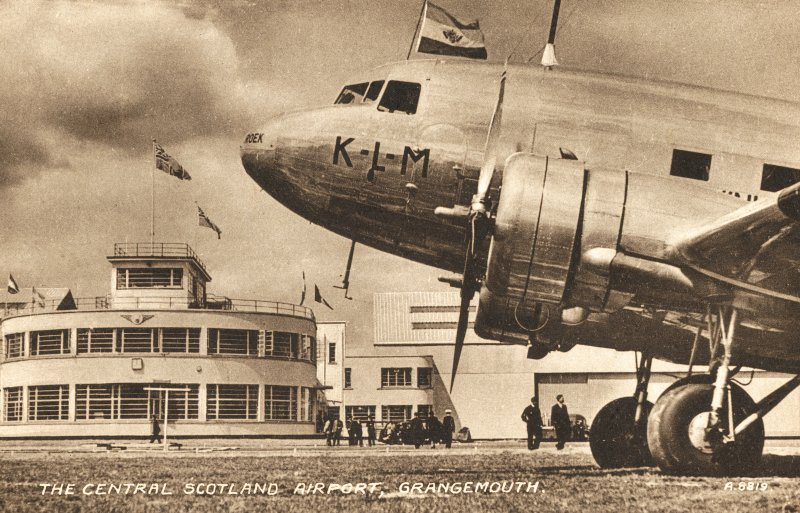 Postcard showing view of KLM airplane and terminal at gracemount airfield. The airport opened in July 1939 and closed three months later for commercial operations with the outbreak of war, when it was converted into a fighter base. Since demolished.  Titled: 'The Central Scotland Airport, Grangemouth'