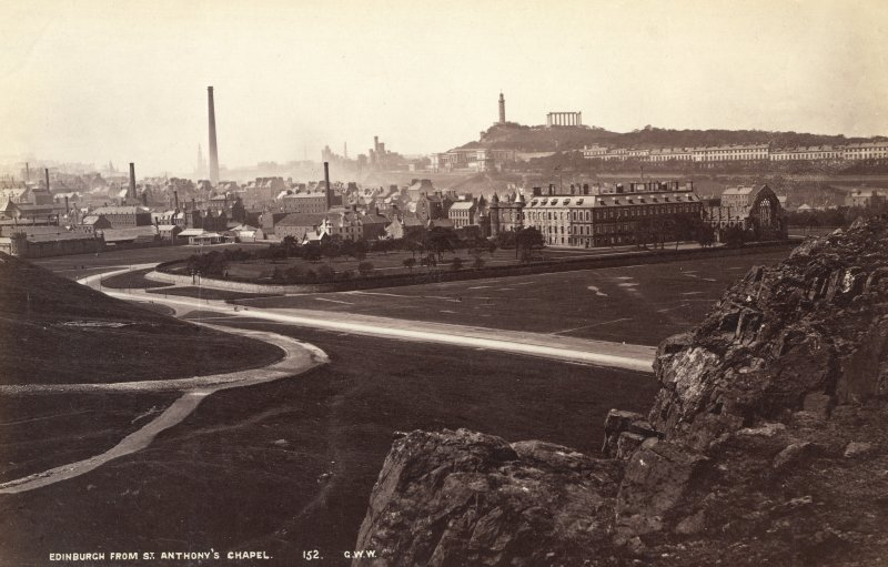 "Historic photographic view from Salisbury Crags, Edinburgh with Holyrood Palace in foreground. Insc. ""Edinburgh from St. Anthony's Chapel"""