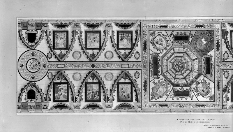 Photographic copy of drawing. Gallery ceiling from drawing by Hamilton More Nisbett.