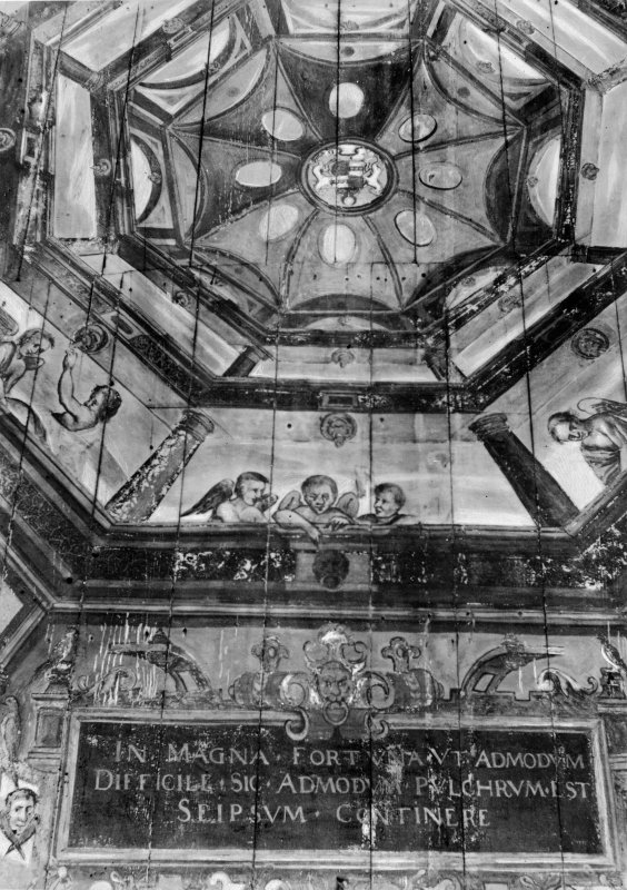 Copy of photographic print showing gallery ceiling.