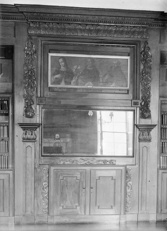 Panelling in library.