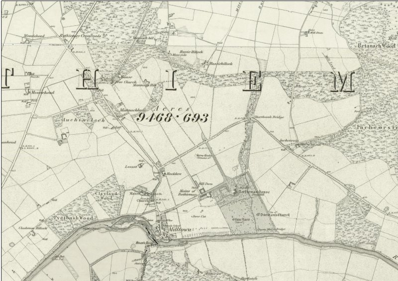 Rothiemay Castle and policies: 1st Edition Ordnance Survey 6-inch map (Banffshire sheets xv and xxi, 1871)