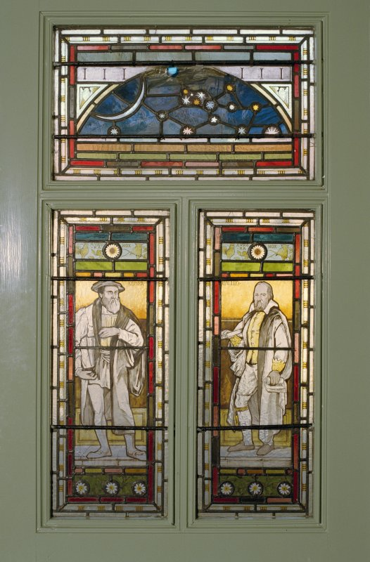 Interior. Ground floor, entrance hall, detail of stained glass in door The Coats Observatory, Paisley