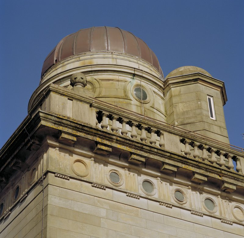 Detail of doric frieze, mutule cornice, balustrade, drum and dome The Coats Observatory, Paisley