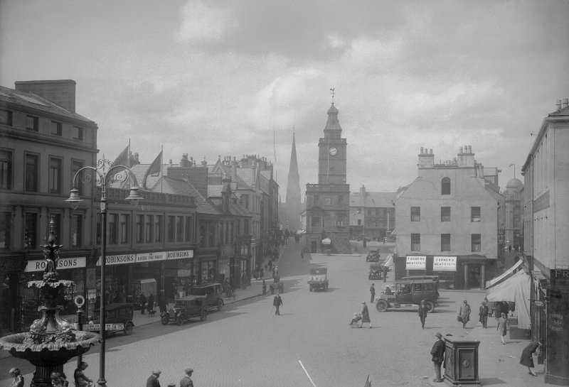 View from south of Dumfries High Street including Midsteeple.