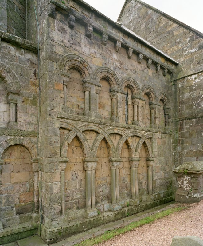 View of arcading on north wall of chancel from north east