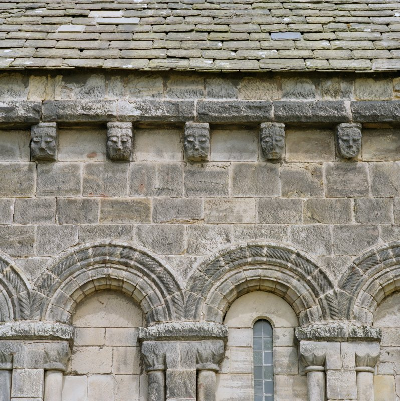 Detail of corbels on south wall of chancel St Athernase Parish Church, Leuchars