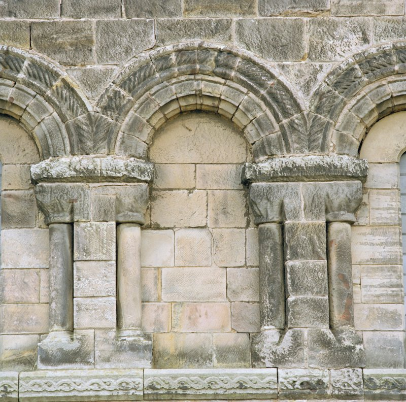 Close detail of arcading on south wall of chancel