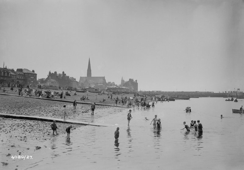 View of Largs and bathers