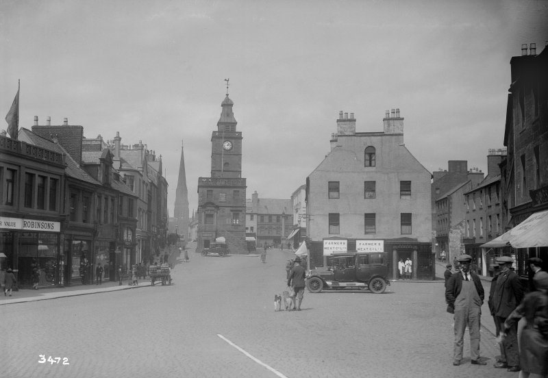 General view from south of Dumfries High Street including Midsteeple.