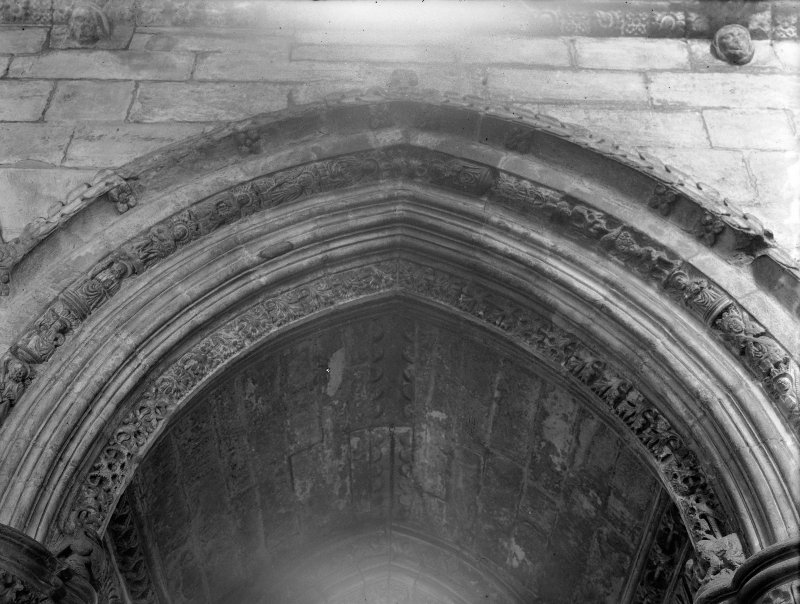 Roslin Chapel. Interior. View of Arch showing figures of Saints, South Aisle arch, second bay, towards nave.