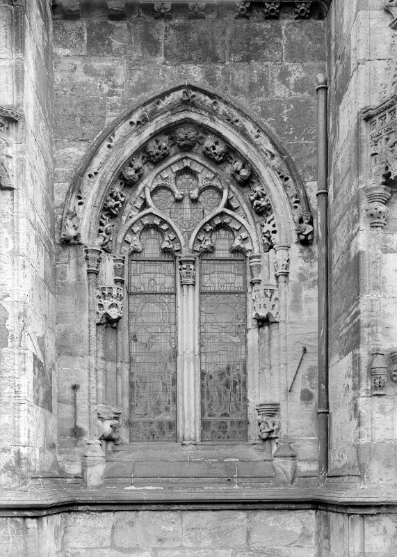 Roslin Chapel. View of window, North side, second bay.