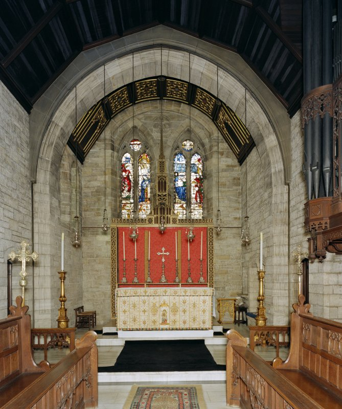 All Saints Episcopal Church, interior.  View of chancel from West.
