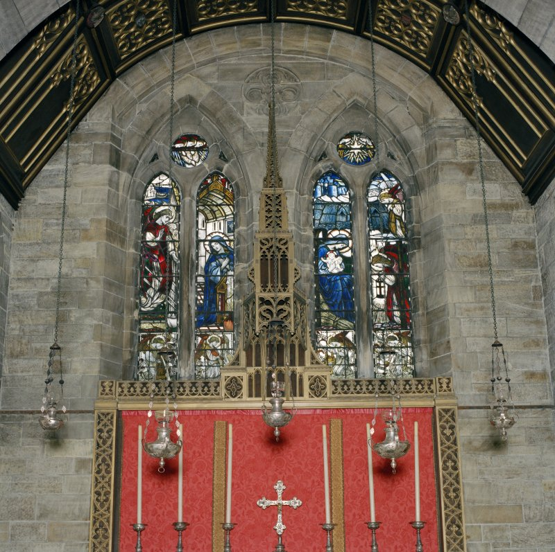 All Saints Episcopal Church, interior.  Detail of stained glass window in East gable.