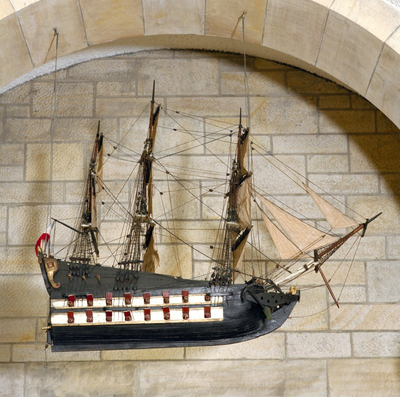 All Saints Episcopal Church, interior.   Detail of model ship suspended from ceiling at West end of nave.