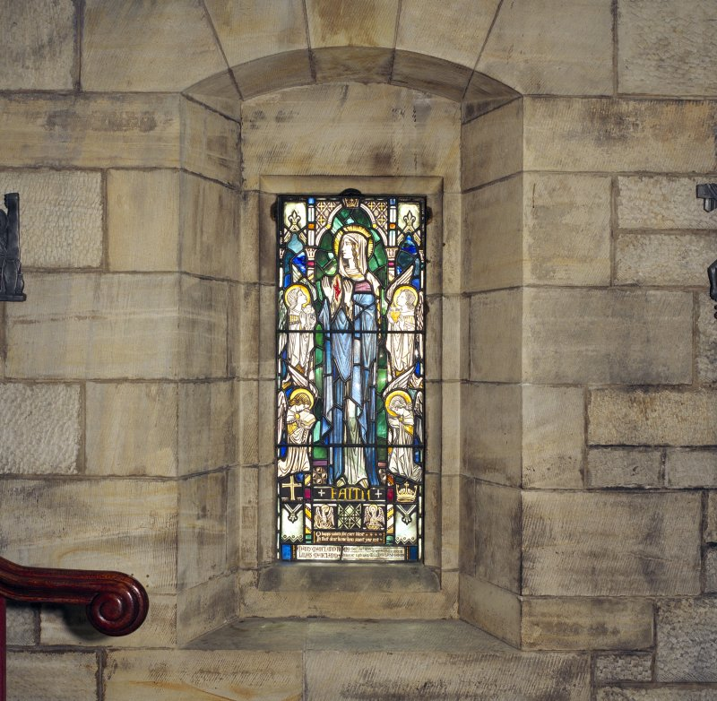 All Saints Episcopal Church, interior.  Detail of stained glass window, South wall.