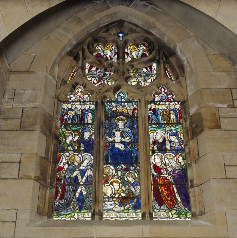 All Saints Episcopal Church, interior.  Detail of stained glass window, North wall.