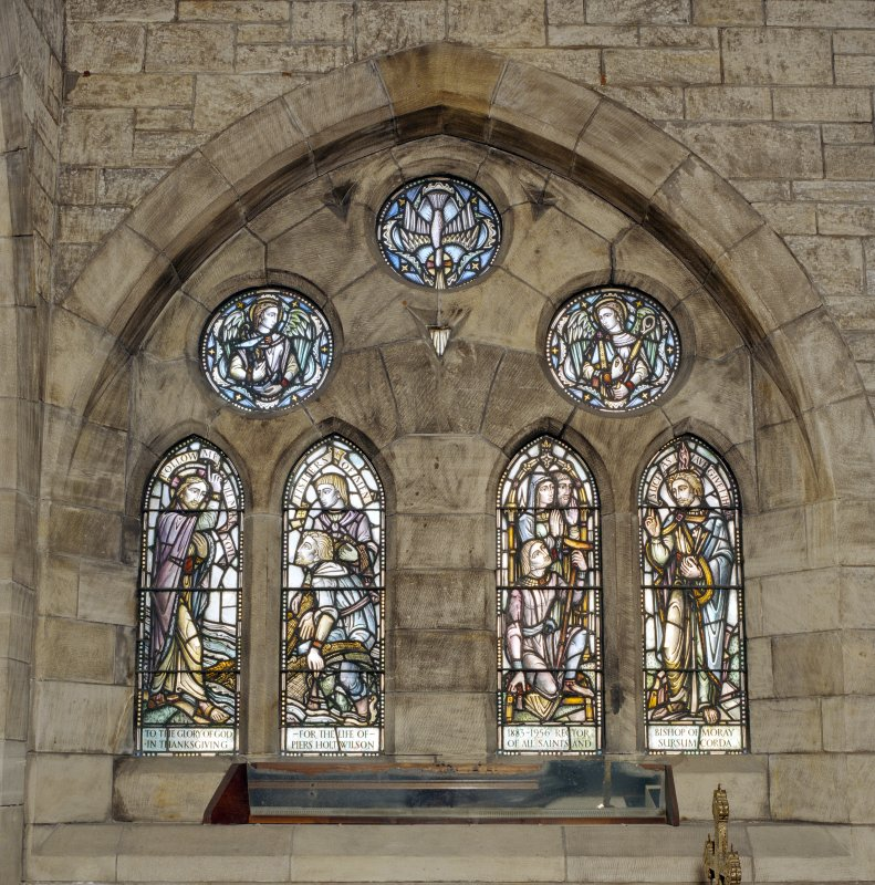 All Saints Episcopal Church, interior.  North side chapel, detail of stained glass window at West end.