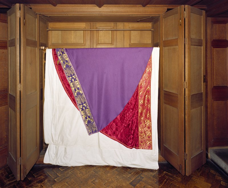 All Saints Episcopal Church, interior.   Sacristy, detail of cupboard with sacramental robes.