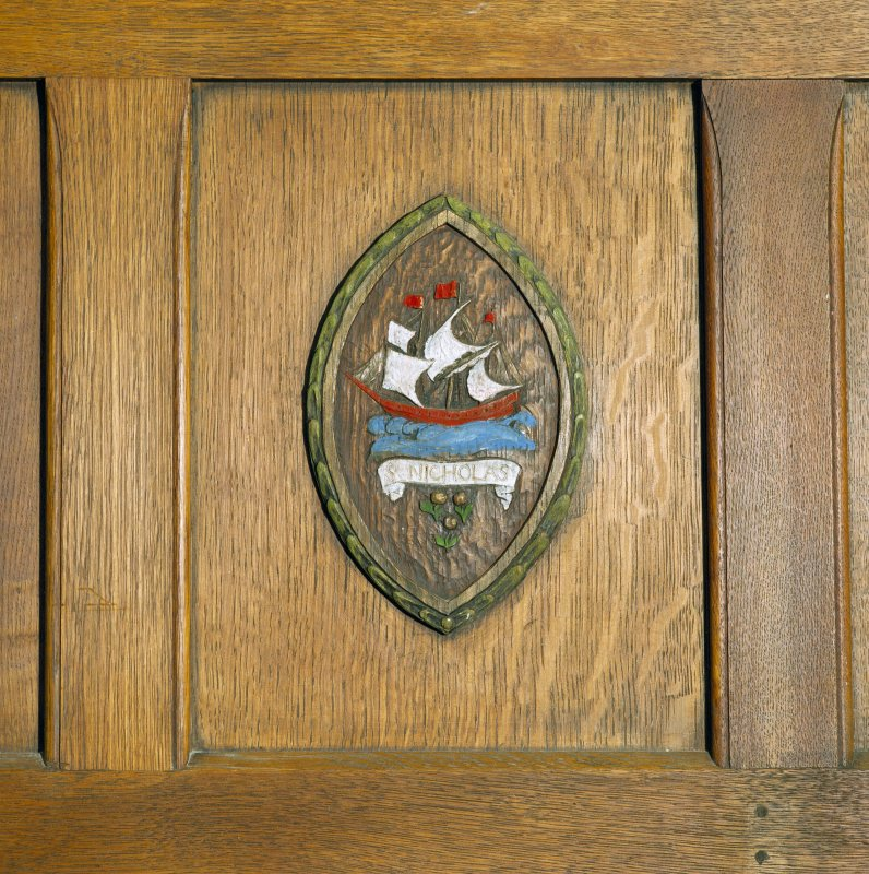 All Saints Episcopal Church, interior.  Main hall, detail of vesica in panelling.