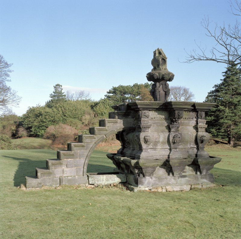 Mansion, garden, fountain, view from South South West.