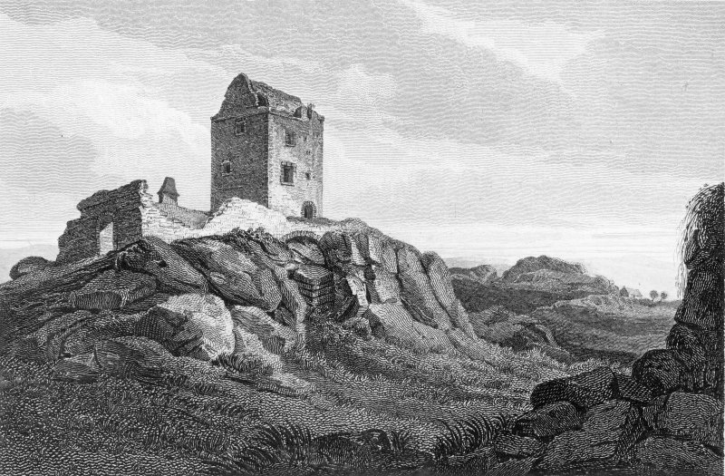Engraving showing general view of Smailholm Tower Titled: 'Smailholm Tower, Roxburghshire. Engraved by J Grieg from a painting by H Weber for the Border Antiquities of England and Scotland. Published 1815'.