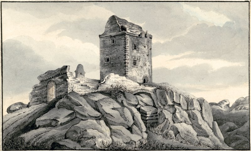 Perspective view of Smailholm Tower.
